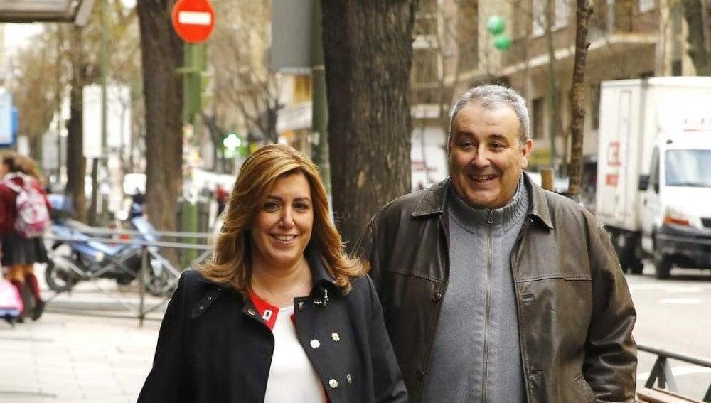 Susana Díaz, a su llegada a la sede del PSOE en la calle Ferraz de Madrid
