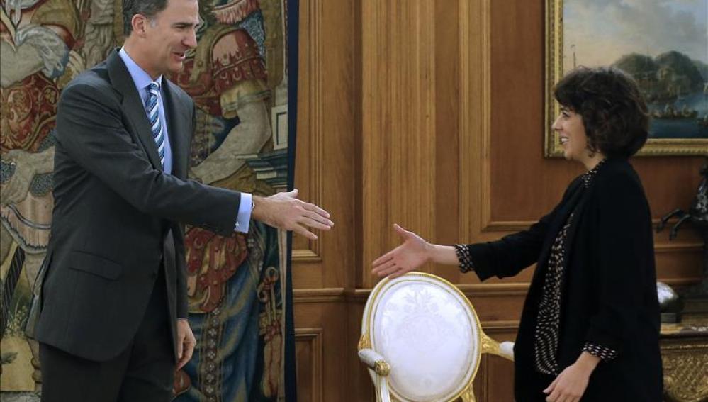 El Rey Felipe VI con Alexandra Fernández en Zarzuela