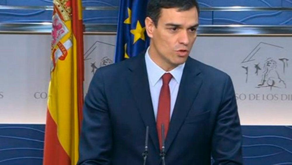 Pedro Sánchez tras su reunión con el Rey