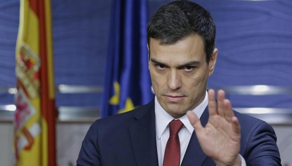 Pedro Sánchez, durante la rueda de prensa
