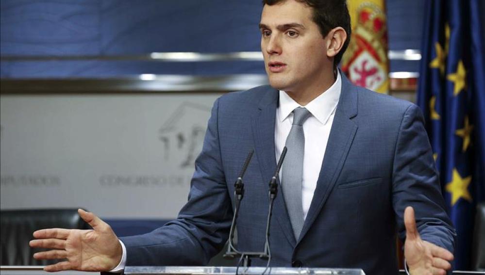 El presidente de Ciudadanos, Albert Rivera, durante la rueda de prensa