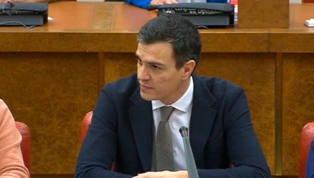 Pedro Sánchez durante la comparecencia