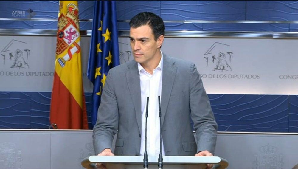 Pedro Sánchez, durante la rueda de prensa tras su encuentro con Pablo Iglesias