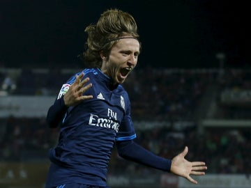 Luka Modric celebra un gol con el Real Madrid