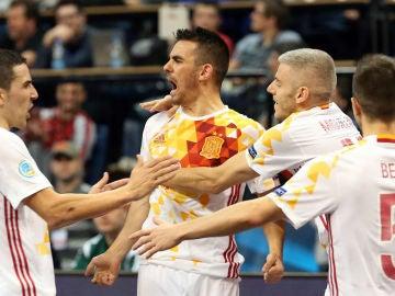 Alegria de España tras un gol a Portugal