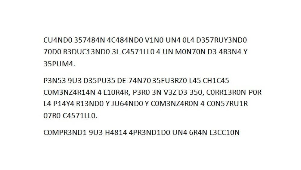 Texto en 'leet', combinación de números y letras