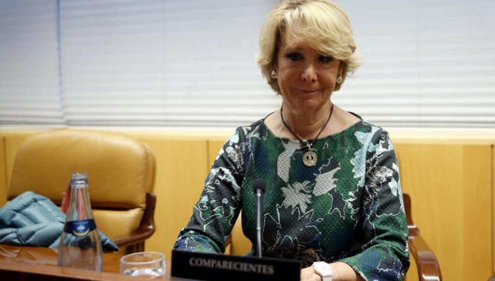 Esperanza Aguirre, durante su comparecencia hoy en la comisión de Corrupción de la Asamblea de Madrid