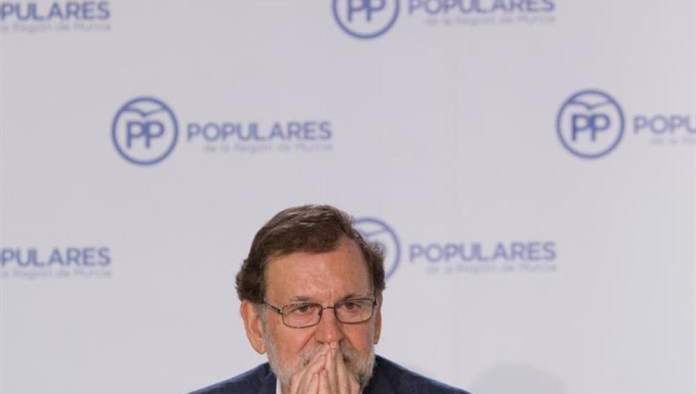 Mariano Rajoy, durante su intervención en Murcia