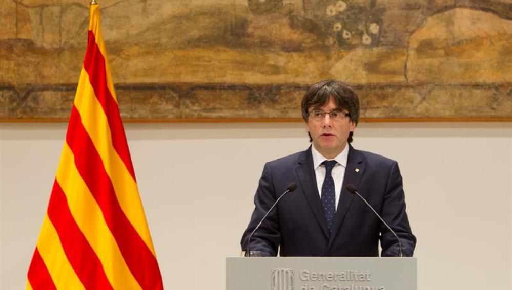 Carles Puigdemont en el Palau de la Generalitat