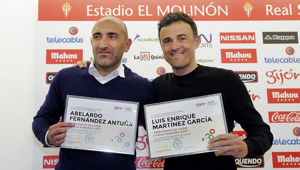 Luis Enrique y Abelardo, embajadores de Gijón