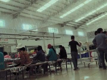 El interior de una fábrica textil en Camboya