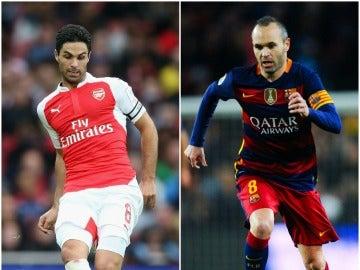 Arteta e Iniesta, en acción con el Arsenal y el Barcelona