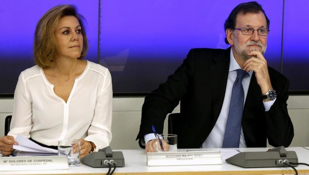 Mariano Rajoy y Dolores de Cospedal durante el Comité Ejecutivo Nacional