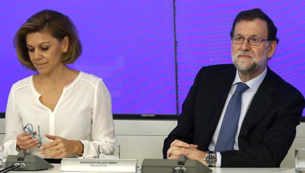 Mariano Rajoy y María Dolores de Cospedal en el Comité Ejecutivo Nacional del PP