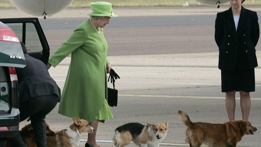 La reina Isabel II con sus perros