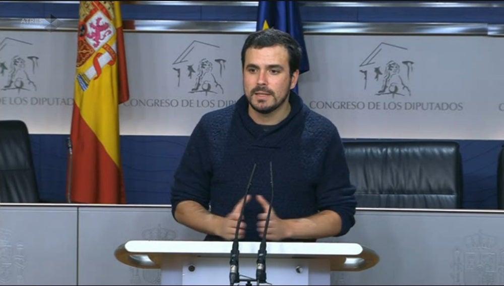 Alberto Garzón, durante un rueda de prensa en el Congreso de los Diputados