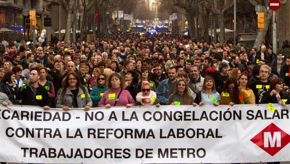 Huelga de trabajadores del metro de Barcelona