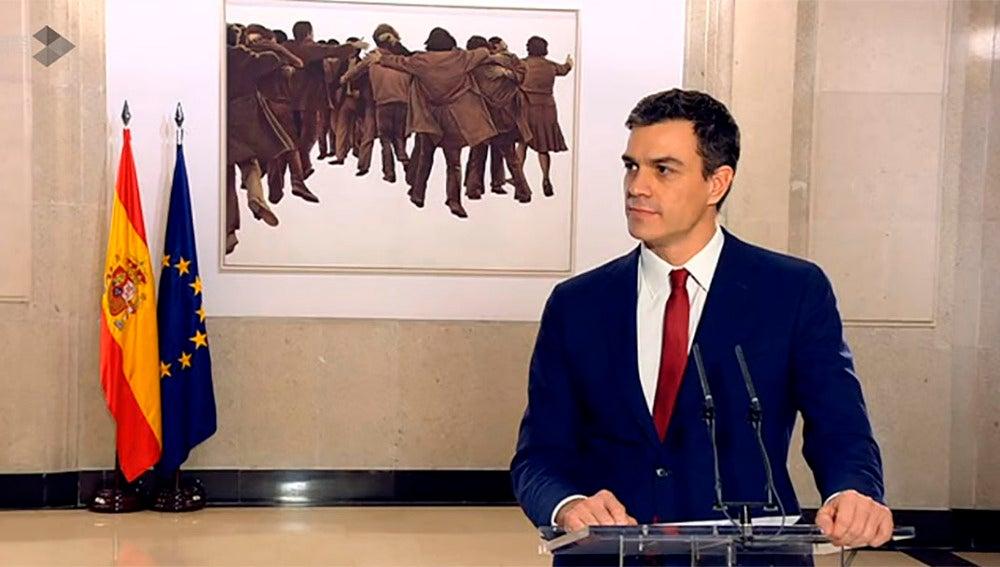 Pedro Sánchez en rueda de prensa tras la firma del acuerdo