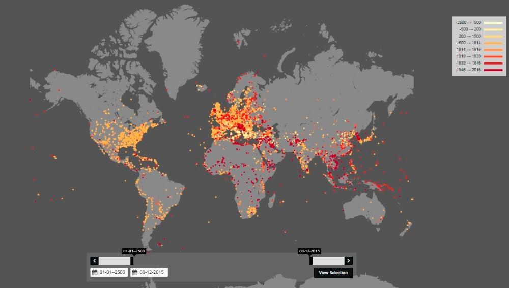 Mapa de las guerras en los últimos 4.000 años