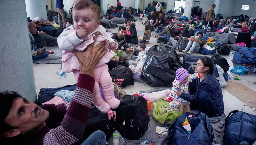 Refugiados en Atenas