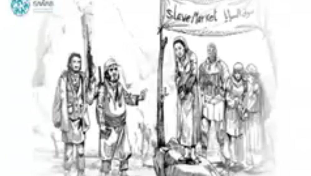Ilustración del vídeo que muestra la venta de mujeres por Daesh
