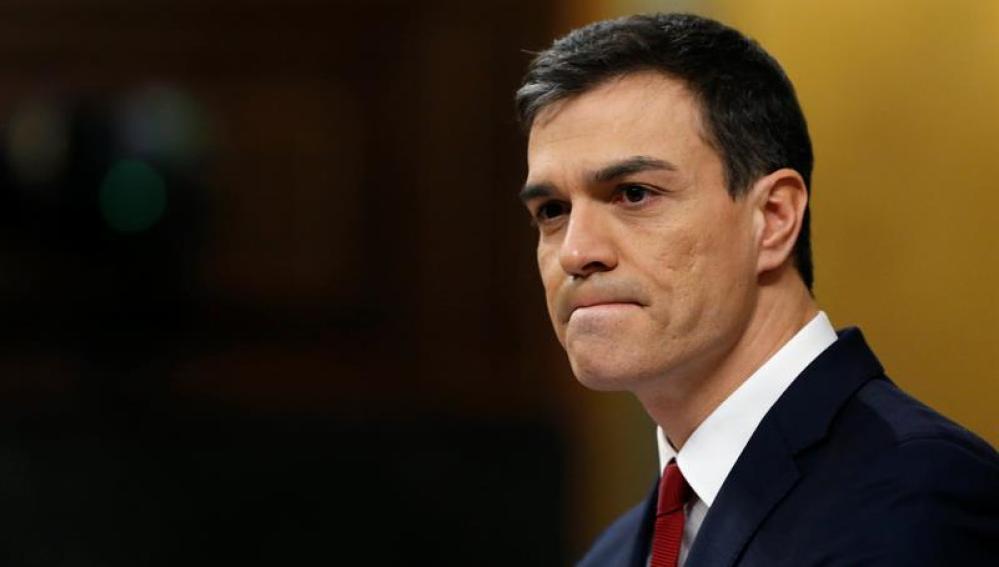 Pedro Sánchez en su debate de investidura