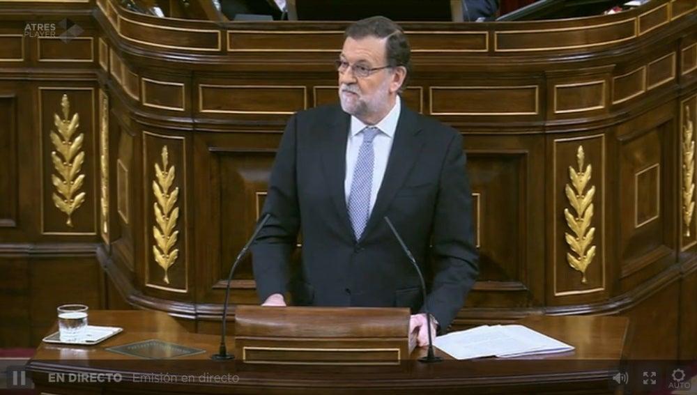 Mariano Rajoy, durante su intervención en el Congreso de los Diputados