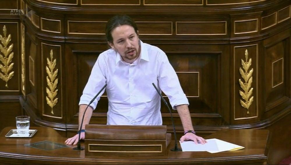 Pablo Iglesias, durante su intervención en el Congreso de los Diputados