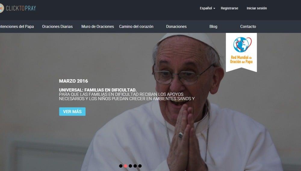 Pantallazo de la web 'Click to pray'
