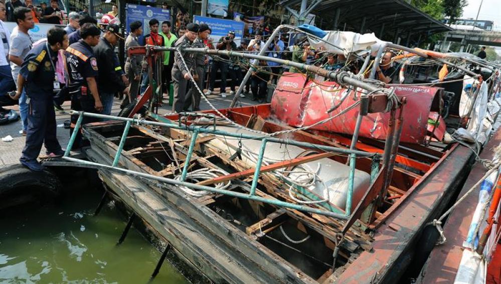 La embarcación después del incidente
