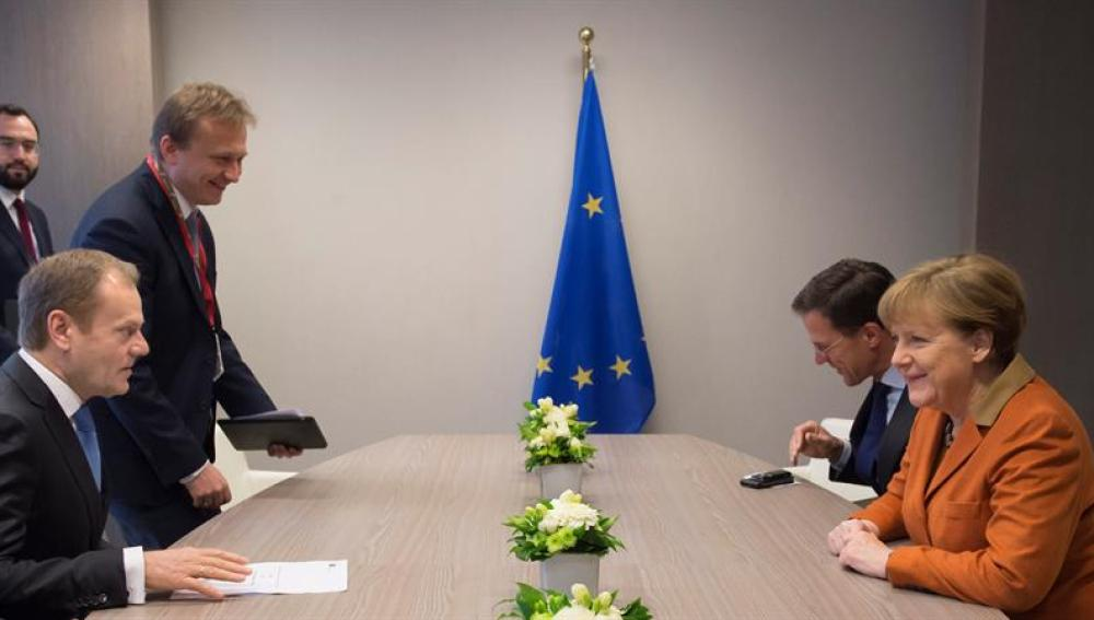 Merkel durante la reunión especial con Turquía
