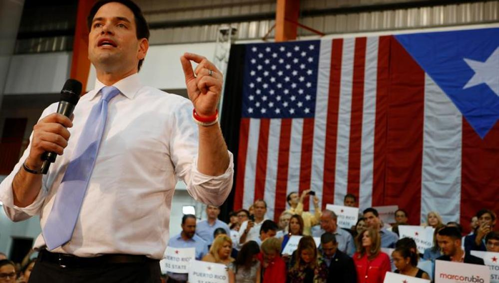 Marco Rubio durante un acto de campaña