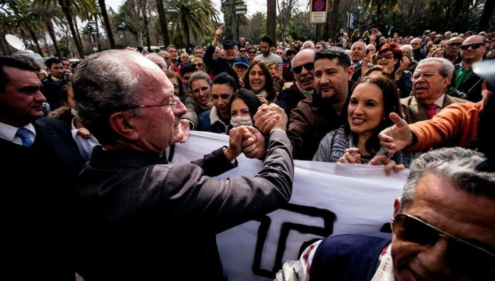 Protesta en Málaga por la huelga de los trabajadores de la limpieza municipal