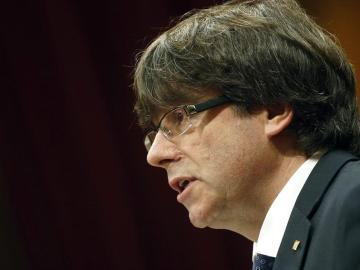 Carles Puigdemont, durante su intervención en el Parlament