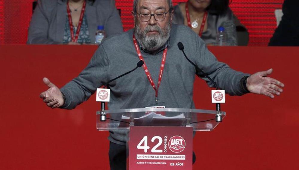 El secretario general de UGT, Cándido Méndez, durante su discurso
