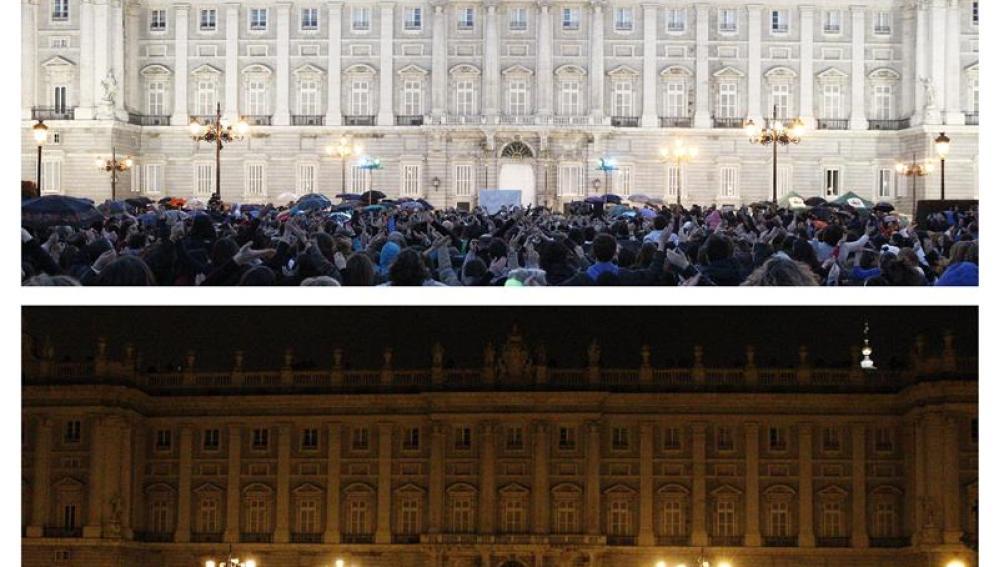 Combo de fotografías del Palacio Real de Madrid durante la Hora del Planeta