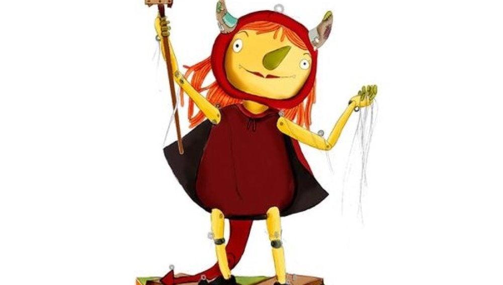 Demonio femenino con apariencia de títere anunciando las fiestas de Badalona