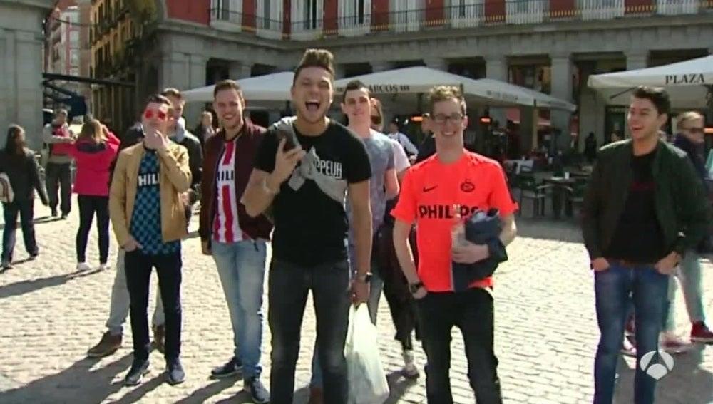 Los aficionados del PSV, en Madrid