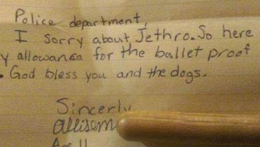 La carta que envió la niña al departamento de Policía