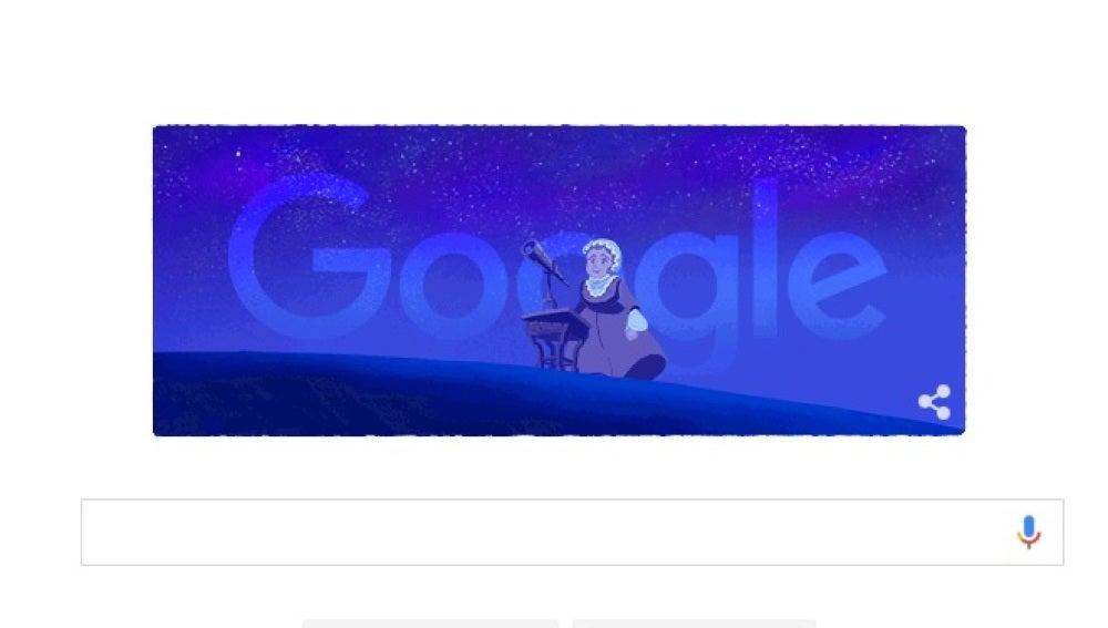 Doodle que homenajea a la astrónoma Caroline Herschel
