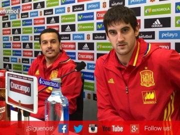 Pedro y San José en la rueda de prensa con la Selección