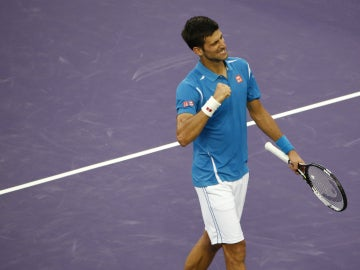 Novak Djokovic celebra su victoria ante Berdych