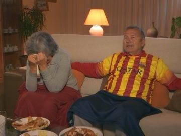 Los espectadores ven el Atleti-Barça