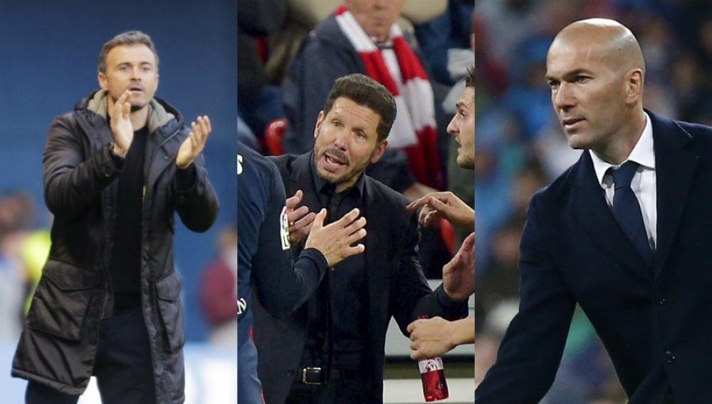 Luis Enrique, Simeone y Zidane, tres entrenadores y una Liga en juego