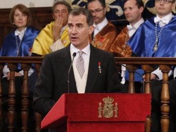 El Rey Felipe VI, durante la ceremonia del Premio Cervantes