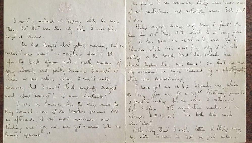 Carta de la reina Isabel II subastada