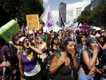 Manifestación en México contra la violencia de género