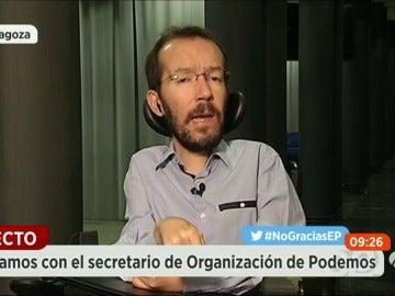 """Frame 1360.009914 de: Echenique, sobre el PSOE: """"Asustar a la gente está   pasado de moda"""""""
