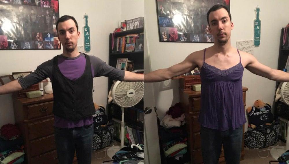 Benjamin Cooper vestido con la ropa de su novia