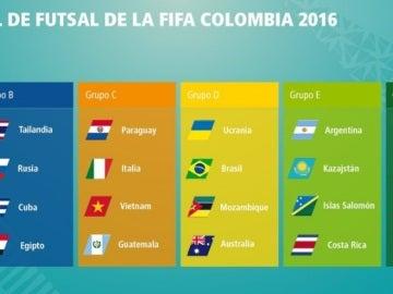 Composición de los grupos del Mundial de Fútbol Sala